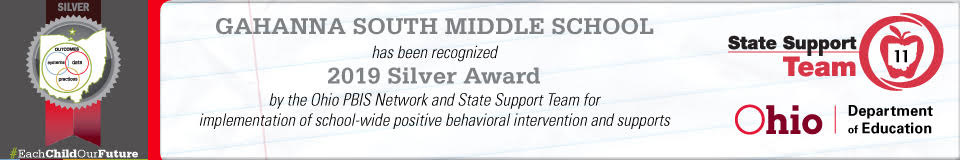 Banner recognizing GMSS as a 2019 Silver Award winner by the Ohio PBIS Team.