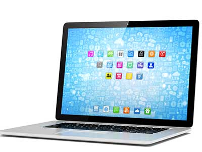 Image of open laptop with apps